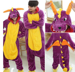 Barato Macacões De Dragão-Purple Dragon Kigurumi Pijamas Trajes de animais Cosplay Outfit Traje de Halloween Vestuário para Adultos Cartoon Jumpsuits Unisex Animal Sleepwear