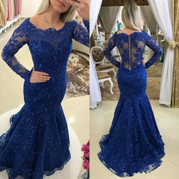 pearl pink mother bride dresses 2019 - Royal Blue Lace Long Sleeve Mother Of The Bride Dresses 2017 Beaded Pearls Long Plus Size Mother's Formal Wear Merm