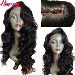 full lace wig side part Canada - 4*4 Silk Top Full Lace Wig Brazilian Virgin Human Hair Body Wave Silk Base Lace Wig with Baby Hair Side part Free ship