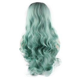 Kanekalon Lace Wigs NZ - SF5 Front Lace Wig Ombre Dark Root Light Blue Wig, Ombre Synthetic Wavy Wig Blue Stylish Kanekalon Costume Party Wig Natural Hairline