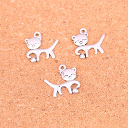 $enCountryForm.capitalKeyWord Australia - 114pcs Antique Silver Plated cat ball Charms Pendants for European Bracelet Jewelry Making DIY Handmade 19*18mm