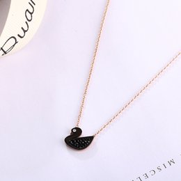 Swan Pendants Canada - Black Swan Titanium Steel Necklaces Rose Gold Clavicle Chain Necklace Jewelry for Women and Girls Fashion Pendants