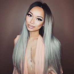 Silk Base Part Wigs NZ - Middle Part Ombre Hair Wig Brazilian 1B Grey full lace Wig With Silk Base 4*4 Sliver Grey Lace Front Wig With Baby Hair