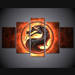 fire frame Australia - 5 Pcs Set Framed Printed Fire dragon picture Painting Canvas Print room decor print poster picture canvas Free shipping ny-4301