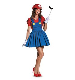 Super Mario Bros Cosplay Costume Pas Cher-Adulte Halloween Super Mario Luigi Bros Femmes Sexy Dress Plumber Adulte Mario Bros Cosplay Costume Déguisements