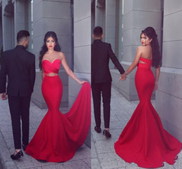 Barato Chiffon Ruched Sweetheart Vestido-Red Two Pieces New 2017 Prom Dresses Mermaid Sweetheart Ruched Cutaway Sweep Train Vestidos De Fiesta Vestidos de festa de noite baratos