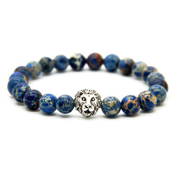 Discount spring lions - 1PCS Wonderful Silver Color Lion Head Made With Nine Styles 8mm Natural Stone Beads Bracelets For Men