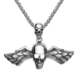 $enCountryForm.capitalKeyWord Canada - Retro silver antique black stainless steel men's skull head pendants titanium steel angle wing cross pendant jewelry with necklace