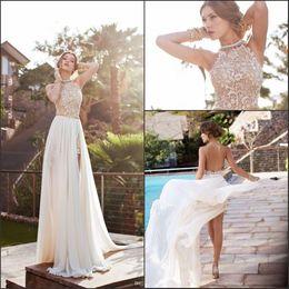 2019 Summer Beach Boho Gaine Robes De Mariée EN STOCK Cheap Halter Neck Backless Haut Côté Split Robes De Mariée CPS231