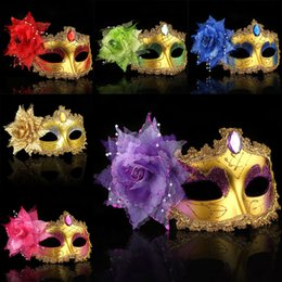Venetian chain online shopping - Masquerade Masks Venetian Face Mask Fashion Rose Bead Chain Crystal Party Decoration Halloween Christmas Gift WX9