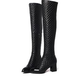$enCountryForm.capitalKeyWord Canada - Women winter Genuine Leather boots Top Quality Fashion Brand Ladies Sexy Stitching lattice Punk rivet Thick heel Pointed zipper kneeboot