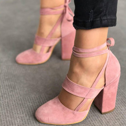 Lace toe cover online shopping - Women Chunky High Heels Suede Closed Toe Sandals Lace Up Ankle Strappy Pumps Round Toe Party Prom Lady Summer Ladies Big Size Shoes
