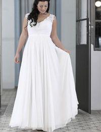 Wholesale New Elegant Plus Size Beach Wedding Dresses V Neck Sleeveless Lace Chiffon Floor Length Bridal Gowns Custom Size