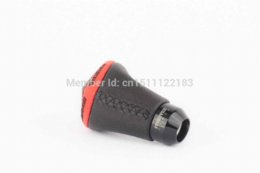 Levers Universal NZ - New Black PU Leather Aluminum Universal Fit Car Auto Gear Lever Stick Shift Knob red edge free shipping.