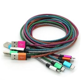 Pink Nylon Cord Canada - 2017 Unbr34oken Metal Connector Fabric Nylon Braid Micro USB Cable Lead charger Cord For i 5 6 ,HTC, & Android Phone CA014