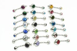 $enCountryForm.capitalKeyWord NZ - Wholesale Free shippment Double Gems Surgical Steel Navel Ring Navel Button Barebells with Circle Hook DIY Body Piercing 14G 50PCS Lot