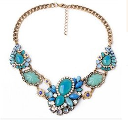 $enCountryForm.capitalKeyWord Canada - Brand Design Chunky Chains Bib Jelly Colored Gem Crystal Collars Choker Statement Necklace Women Vintage Jewelry With Acrylic Pendants