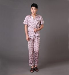 Barato Pijamas Atacado Chinês-Atacado-manga curta Chinese Masculino de seda Rayon Pijamas Set Pijamas Casual Suit Pijamas Bath Nightgown Tamanho S M L XL XXL XXXL MP003