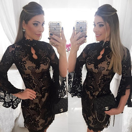 Mini Manche À Manches Longues Pas Cher-2017 Sexy Black Lace robes de cocktail Jewel Neck manches longues Applique Mini gaine courte Party bal Graduation Robe Custom Made