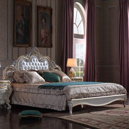 $enCountryForm.capitalKeyWord Canada - Antique classic european furniture -French romantic solid wood baroque antique bed with cracking paint and gold leaf gilding