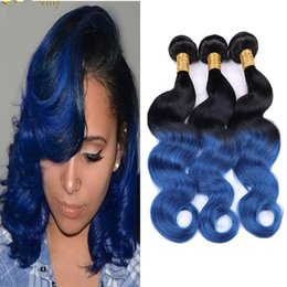 2018 new roots hair extensions New Color Ombre #1B Blue Body Wave Hair Extensions Two Tone Dark Root #1B Blue Brazilan Virgin Human Hair Bundles 4Pcs L
