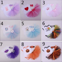 Barato Saias Do Tutu Do Bebê Do Dia Das Bruxas-12 Style Cartoon Baby Girl Infant Halloween 3PCS Outfits Enfeite Birthday Cupcake Romper + Tutu saia + Handmade Crochet Headband