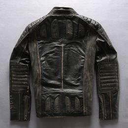 $enCountryForm.capitalKeyWord Canada - Stand collar Retro vintage AVIREXFLY genuine leather motorcycle men jackets stripe cow leather