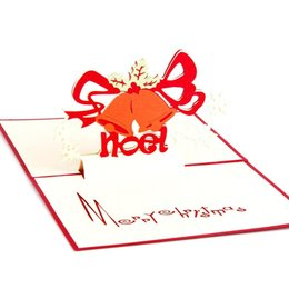Invitation 3d Canada - 10pcs lot Laser Cut Christmas Party Invitations Handmade Christmas Greeting Cards 3D Cubic Christmas Bells Postcard