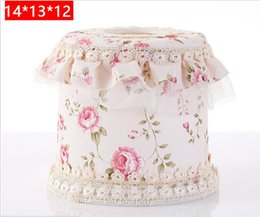 $enCountryForm.capitalKeyWord Canada - Wholesale- European pastoral lace fabric towel box Paper Rack Car Home circular Shaped Tissue Box Container Towel Napkin Tissue Holder