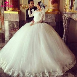 Barato Gorgeous Beaded Vestidos De Manga Comprida-Gorgeous Sheer Ball Gown Wedding Dresses 2016 Puffy Lace Beaded Applique Branco manga comprida Vintage Muslim Arab Bridal Wedding Vestidos