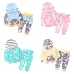 baby christmas outfits reindeer NZ - Christmas Kids Baby Girls Boys Reindeer Hooded Tops +Pants Outfits Set 2pcs suit baby boy clothes newborn Top Quality