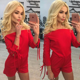 New Style Long Sleeve Bandage Off Shoulder Sexy Women Jumpsuits New Selling  Backless Sexy Summer Jumpsuit and Rompers Free Shipping 6c21c463c