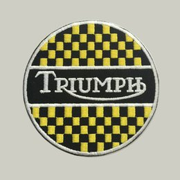 Machine eMbroidery patches online shopping - Triumph custom logo patch iron on cloth hat or bag can be custom embroidery factory in china