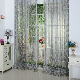 2015 New Chic 200*100cm Chic Leaf Type Tulle Door Window Tulle Curtains ,  Rideau Voilage,rideaux Voile,green Curtains,E5M1 Orderu003c$18no Track