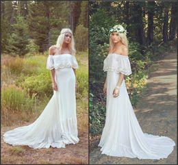 pregnant model wedding dress 2019 - Off the Shoulder Bohemian Wedding  Dresses 2016 Pregnant Women Bridal 1165ea327