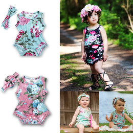 $enCountryForm.capitalKeyWord Canada - Summer Baby Girls Floral Rompers Bow Headband 2 Pieces Sets Kids Sleeveless Jumpsuits Fringe Hem Summer Children Outfits
