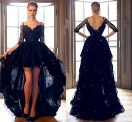 3e5667d8ee235 2018 Black Hi-Lo Evening Dresses Full Lace 1 2 Long Sleeves Spaghetti V  Back High Low Formal Occasions Prom Party Customized Cheap
