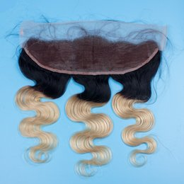 613 closure piece Canada - 1B 613 Blonde Ombre 13x4 Ear to Ear Lace Frontal Closure Bleached Knots Virgin Peruvian Two Tone Body Wave Lace Frontal Hair Pieces