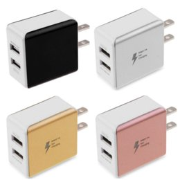 Wholesale Metal A Dual USB Eu US AC home Wall Charger Fast Charging Power Adapter Cell Phone Charger for iphone Samsung s6 s7 s8 mp3 pc