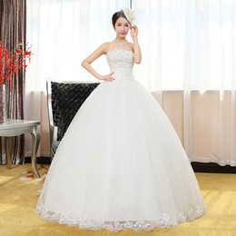 Barato Diamante Vestidos Sem Alças-2016 New Summer Diamond Strapless Sweet Wedding Dress Estilo Coreano Lace Up Floor Lengh Mulheres vestido de noiva NW038