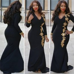 Tank Plus Maxi Dresses Pas Cher-Broderie Mermaid Plus Size Robe Maxi Sexy Black Tank V Neck Long Elegant Party Robe formelle Tenue de soirée