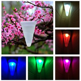 Discount waterproof hanging outdoor solar lights 2018 waterproof 2pcs lot novelty solar light waterproof cone shape solar led changeable color hanging lights for outdoor camping garden waterproof hanging outdoor solar aloadofball Images