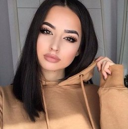 AfricAn hAir wigs women online shopping - Human Hair Bob Wigs Density Peruvian Remy Hair Lace Front Wigs African American Short Hair Wigs For Black Women FDSHINE