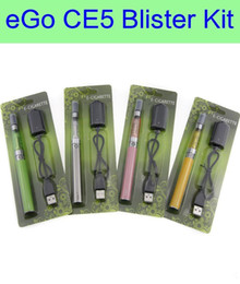 ego t ecig starter kit UK - CE5 eGo-t Blister ecig Kit - ecigs ce5 clearomizer no wicks eGo-t 650 900 1100mAh battery vape pen electronic cigarette starter kit