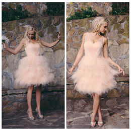 Vestidos De Dama De Honor Junior Baratos-Sheer 2017 del vestido de bola hinchada Blush Rosa Junior vestidos de honor con gradas de Tulle honor formal de la dama damas de honor cortas del desgaste 2017