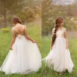 wedding dresses waist sash 2019 - Boho Gold Sequin Open Back Flower Girls Dresses Waist Elegant Floor Length Wedding Girls Birthday Party Dress White TUll
