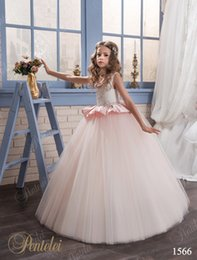Blush Flower Girl Gowns Canada - Cinderella Princess Girls Dresses with Peplum 2017 Pentelei Crystals Appliques Blush Tulle Floor Length Flower Girls Gowns for Weddings
