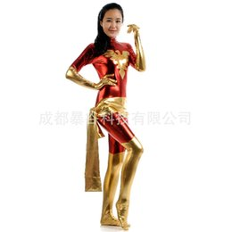 wholesale high quality sexy superwoman zentai suit red and golden latex pvc suit game female heroesglue tights halloween costume for women inexpensive - Halloween Tights For Women