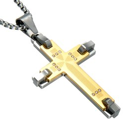 Mens gold cross necklaces 14k suppliers best mens gold cross high quality stainless steel cross pendant men necklace blue black gold color necklaces aaa cz fashion mens cross jewellery aloadofball Images