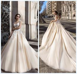 42faa0271 2018 Champagne vestidos de novia Sheer Cuello Applique de encaje Corsé  Court Train vestidos de novia por encargo barato